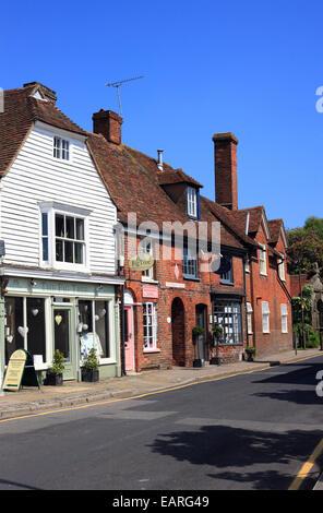 Village shops in Faversham Road, Lenham, Kent, England - Stock Photo