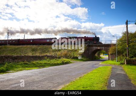 Steam locomotive LMS Jubilee Class 45699 Galatea at Plumpton, Cumbria, England, UK. - Stock Photo