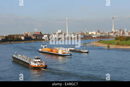 Commercial shipping river Rhine Krefeld Germany - Stock Photo