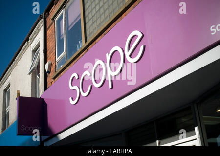 scope disability disabled charity shop shops National Spastics Society fund raising  fundraising money highstreet - Stock Photo