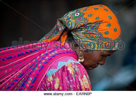 Profile portrait of a Tarahumara Indian woman. - Stock Photo