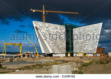 Titanic Signature Building under construction in Belfast in June 2011. - Stock Photo