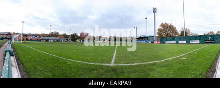 Panoramic view of Warrington Town AFC's footbal pitch from the goal line - Stock Photo