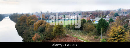 Panoramic view of Warrington Town Association Football Club ground as seen from the nearby Cantilever Bridge - Stock Photo