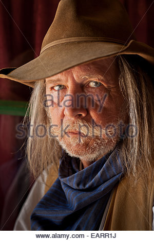 An historic interpreter at Pioneer Living History Museum. - Stock Photo