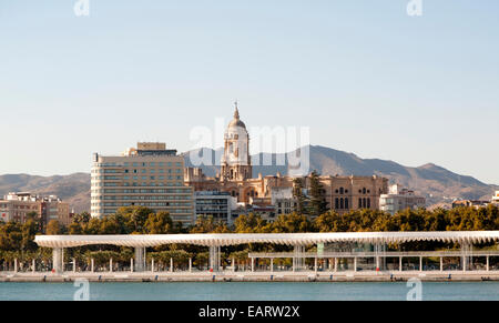 Cityscape view of historic cathedral and city centre, Malaga, Spain - Stock Photo