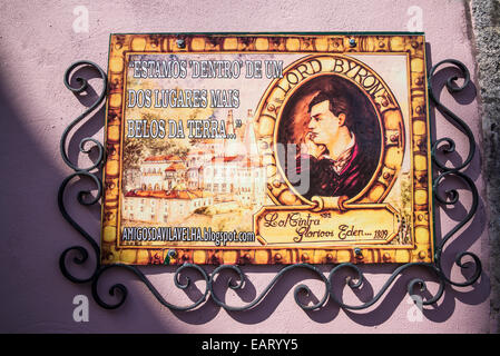Lord Byron plaque 'Sintra Glorious Eden', Sintra, Portugal - Stock Photo