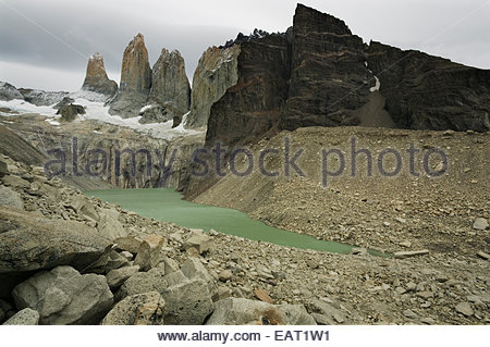The Towers, Torres del Paine National Park, Patagonia, Chile. - Stock Photo