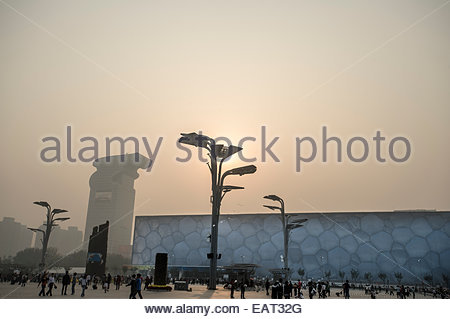 The Beijing National Aquatics Center known as the Water Cube, in Beijing, China. - Stock Photo