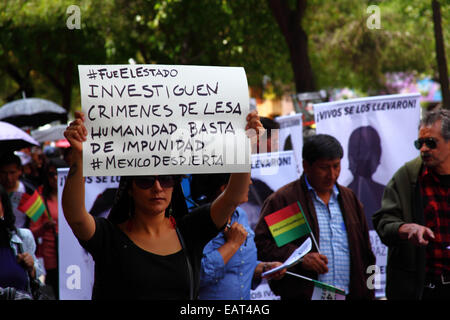 La Paz, Bolivia. 20th November, 2014. A protester holds a placard demanding an investigation into crimes against - Stock Photo