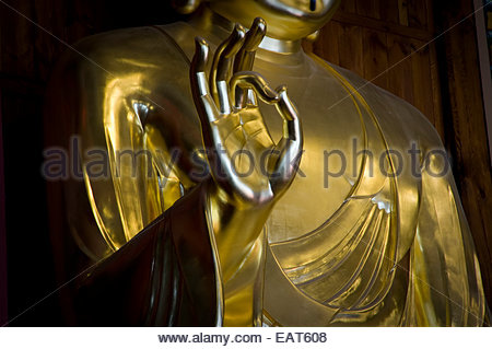 A golden statue of Buddha inside Jogyesa Shrine and Temple. - Stock Photo