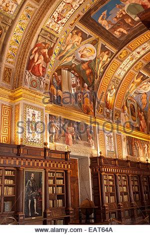 The royal library at the Monastery San Lorenzo de El Escorial. - Stock Photo
