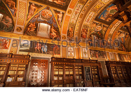 The Royal Library at the Monastery of El Escorial. - Stock Photo