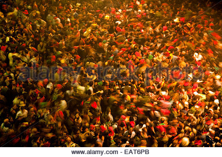 Hundreds of people participating in the La Patum Festival in Berga, Spain. - Stock Photo