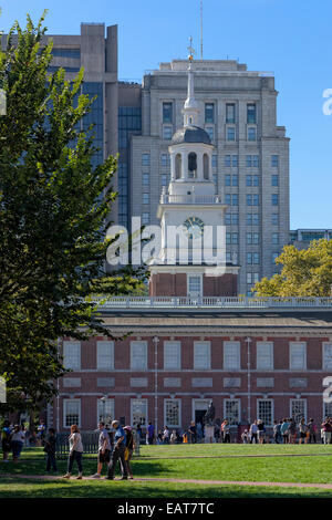 Independence Hall is the centerpiece of Independence National Historical Park in Philadelphia, Pennsylvania. - Stock Photo