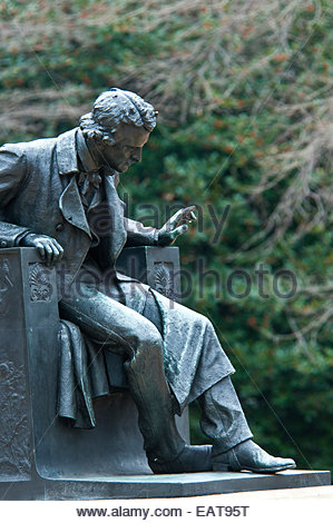 Edgar Allan Poe Statue on University of Baltimore campus in Baltimore. - Stock Photo