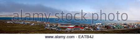 A panoramic view of Pangnirtung village on Baffin Island in the Canadian Arctic. - Stock Photo