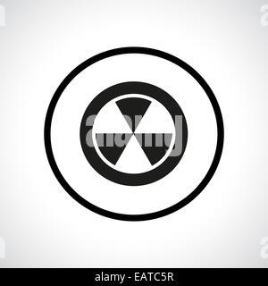 Radiation hazard symbol in a circle. Black flat icon. - Stock Photo
