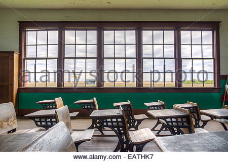 An antique classroom near Leader. - Stock Photo