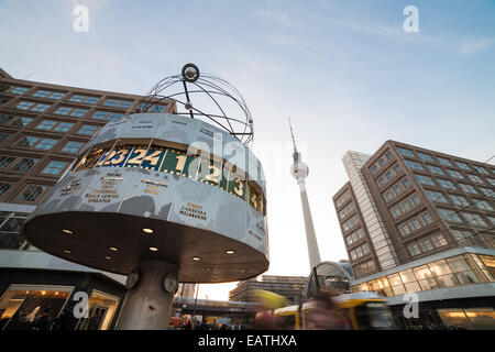 berlin alexanderplatz with world clock, television tower, tram - Stock Photo