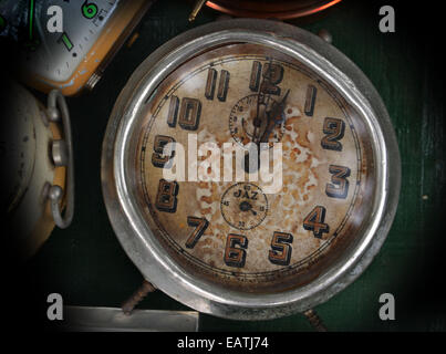 vintage alarm clock on display at Lille Braderie 2014 - Stock Photo