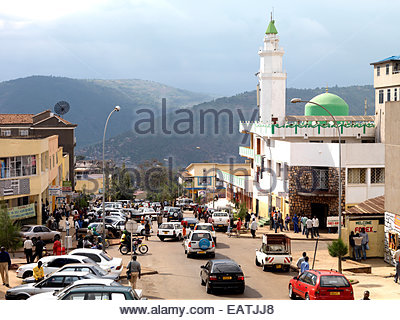 A view of downtown Kigali in central Rwanda. - Stock Photo