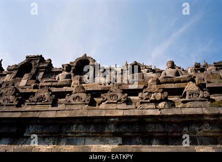 World Travel. Buddhist monument Borobudur in Magelang Yogyakarta in Indonesia in Southeast Asia. Wanderlust Escapism - Stock Photo