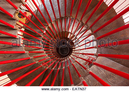 Looking down the spiral staircase in the tower of Ljubljana castle. - Stock Photo