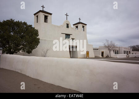Mission Church at Isleta Pueblo, near Albuquerque; New Mexico - Stock Photo