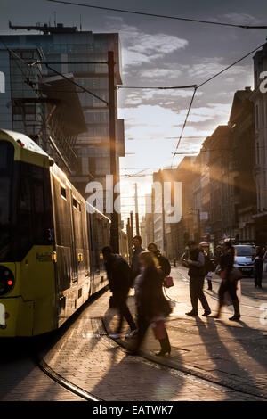 Manchester, UK. 20th November, 2014. UK Weather: Low winter sun in Fountain street, near Piccadilly Gardens,  producing - Stock Photo