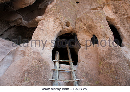 A prehistoric cliff dwelling in Frijoles Canyon. - Stock Photo