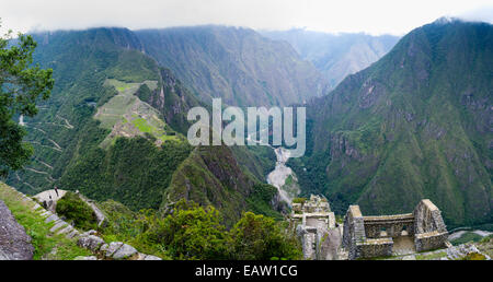 The Incan ruins of Machu Picchu, photographed from atop Huayna Picchu, near Aguas Calientes, Peru. - Stock Photo