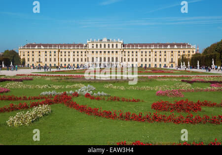 VIENNA, AUSTRIA - OCTOBER 19, 2014: The Schonbrunn palace and gardens. - Stock Photo