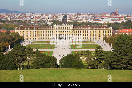 Vienna - The Schonbrunn palace and gardens from Goloriette. - Stock Photo