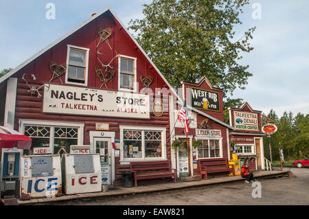 The historic Nagley's Store on main street in Talkeetna, Alaska - Stock Photo