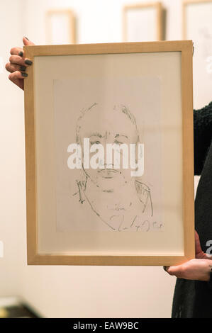 Regensburg, Germany. 14th Nov, 2014. A self-portrait of Mark Knopfler, singer of the British band Dire Straits, - Stock Photo