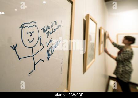 Regensburg, Germany. 14th Nov, 2014. A self-portrait of jazz musician Al Jarreau hangs in the exhibition 'Take it - Stock Photo