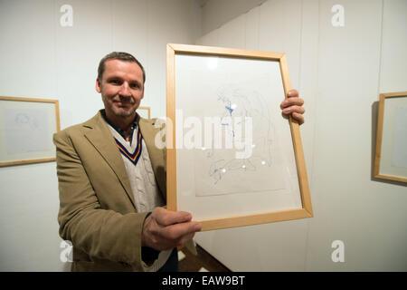 Regensburg, Germany. 14th Nov, 2014. Music journalist Gunther Matejka presents a self-portrait of American rock - Stock Photo