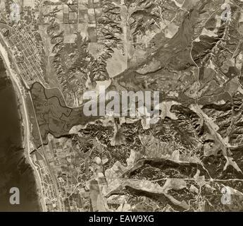 historical aerial photograph Encinitas, Solana Beach, San Diego County, California, 1947 - Stock Photo