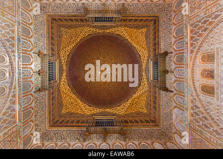 SEVILLE, SPAIN - OCTOBER 28, 2014: The cupola of Hall of Ambassadors in Alcazar of Seville. - Stock Photo