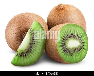Kiwi fruit isolated on white background. Clipping Path - Stock Photo