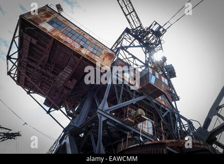Abandoned opencast mining equipment at Ferropolis, 'the city of iron', an open-air museum area in Graefenhainichen, - Stock Photo