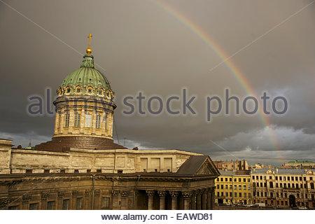 Cathedral of Our Lady of Kazan, on the Nevsky Prospekt. - Stock Photo