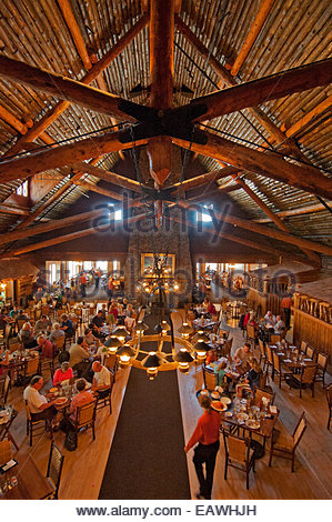 ... Tourists Eat In The Historic Dining Room At Old Faithful Inn.   Stock  Photo