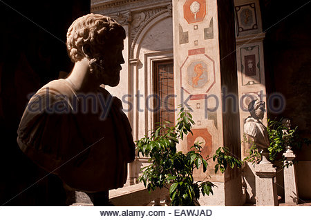 Busts of Roman emperors if the Palazzo Altemps in Rome. - Stock Photo