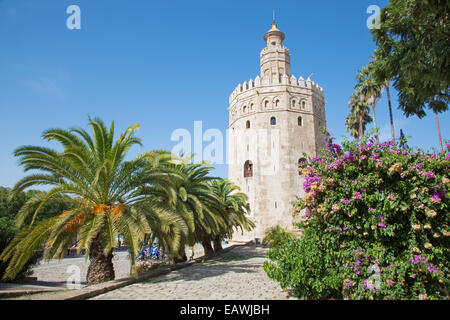 Seville - The medieval tower Torre del Oro - Stock Photo