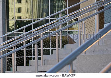 Rails on steps create an abstract pattern of lines and angles. - Stock Photo