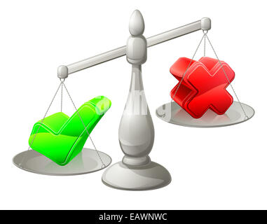 Scales illustration with a green tick and red cross on it, the green tick being heaviest - Stock Photo
