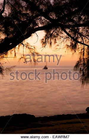 A yacht anchored in the calm waters of Pigeon Bay off Cat Island. - Stock Photo