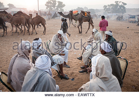 Camel herders sharing stories at the Pushkar Camel Fair. - Stock Photo